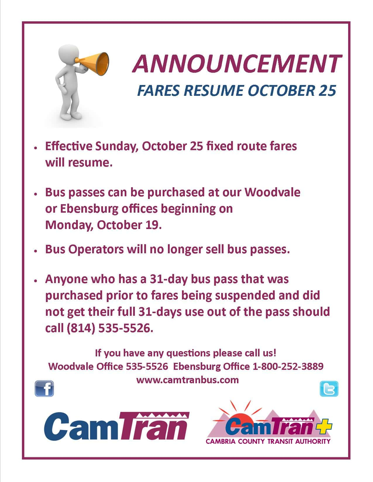 FARES RESUME ON SUNDAY, OCTOBER 25TH