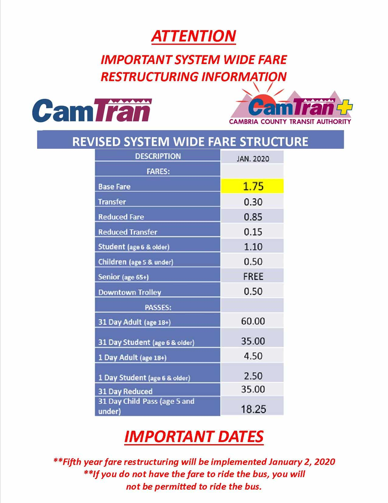 Fifth Year Fare Increase Begins January 2, 2020