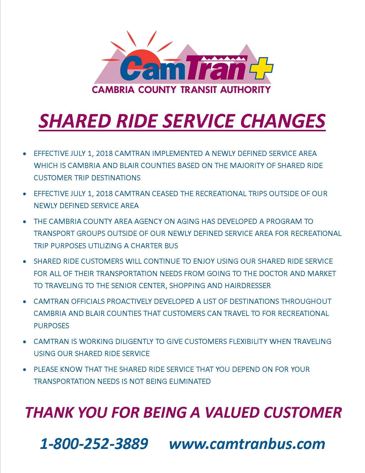 Shared Ride Service Changes