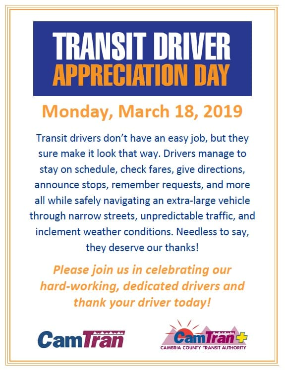 TRANSIT DRIVER APPRECIATION DAY – MARCH 18