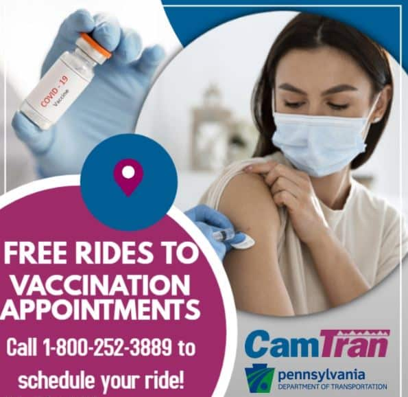 Free Rides to Vaccination Appointments! Call 1-800-252-3889 to schedule your trip!